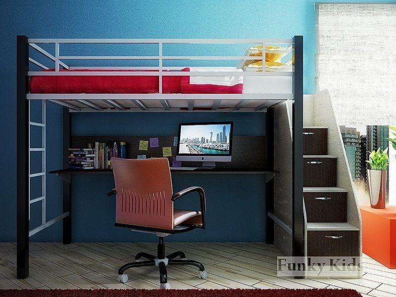 Кровать чердак с большим столом